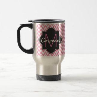 Pastel Pink & White Chevron Monogram Travel Mug