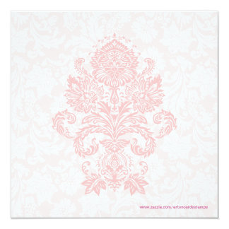 Pastel Pink & White Floral Damask Wedding Invite
