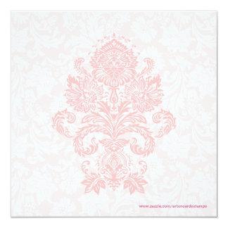 Pastel Pink & White Floral Damask Wedding Invite