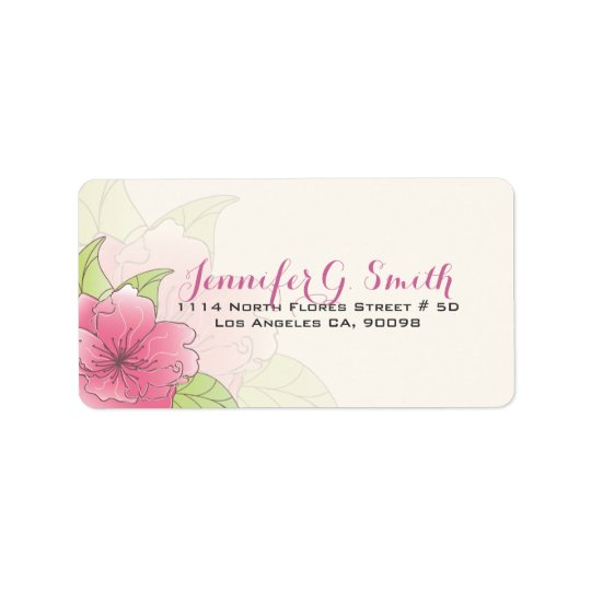 Pastel Pink & White Floral Wedding Label Address Label