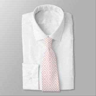 Pastel Pink & White Geometric Pattern Tie
