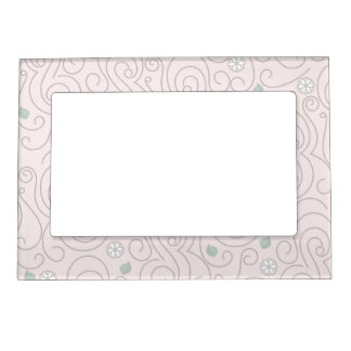 Pastel Pink with Flowers, Leaves and Swirls Photo Frame Magnets