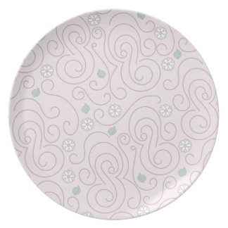 Pastel Pink with Flowers, Leaves and Swirls Dinner Plate