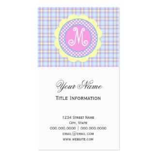 Pastel Plaid Pattern with Monogram Double-Sided Standard Business Cards (Pack Of 100)