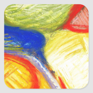 Pastel Playing Fields (abstract expressionism) Square Sticker