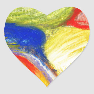 Pastel Playing Fields (abstract expressionism) Heart Stickers