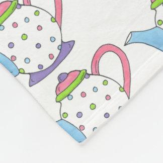 Pastel Polka Dot Teapot Tea Party Teapots Blanket