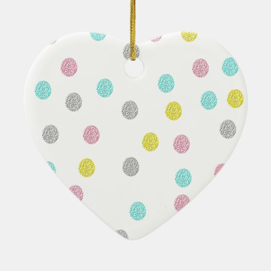 Pastel Polka Dots Ceramic Heart Decoration