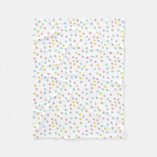 Pastel Polka Dots Fleece Blanket
