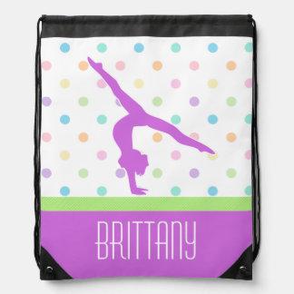 Pastel Polka-Dots Gymnastics in Lavender Backpack