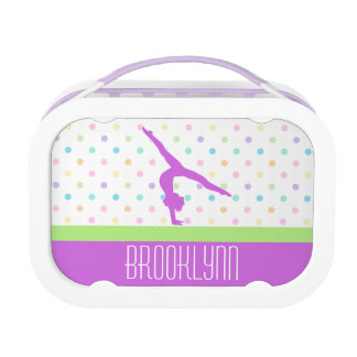 Pastel Polka-Dots Gymnastics in Lavender Lunch Box