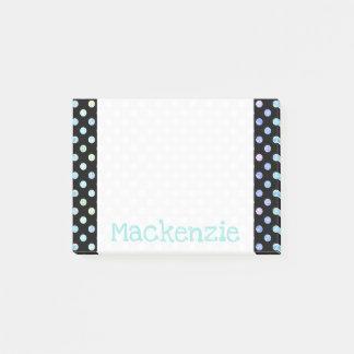 Pastel Polka Dots Iridescent Shimmer Glitter Name Post-it Notes