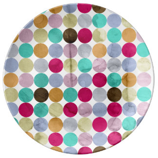 Pastel polka dots porcelain plate
