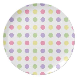 Pastel Polka Dots on White Dinner Plate