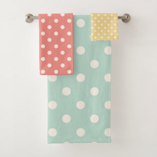 Pastel Polka Dots Pink Yellow Blue Bath Towel Set