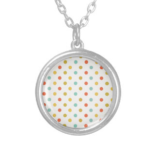 Pastel polka-dots silver plated necklace