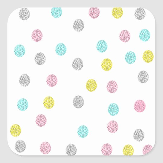 Pastel Polka Dots Square Sticker
