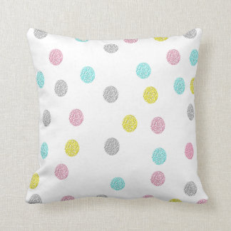 Pastel Polka Dots Throw Pillow