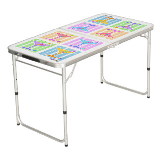 PASTEL POP ART MARTINIS BEER PONG TABLE