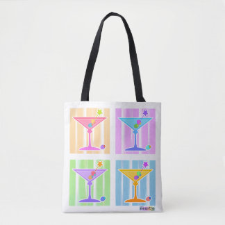 PASTEL POP ART MARTINIS TOTE BAG