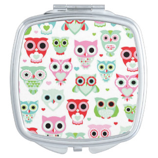pastel powder color owl background makeup mirror
