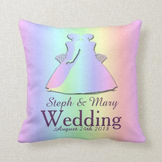 Pastel Pride Brides Pillow Lesbian Wedding Gift