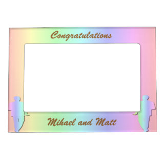 Pastel Pride Gay Wedding Gift Frame Magnetic Picture Frame