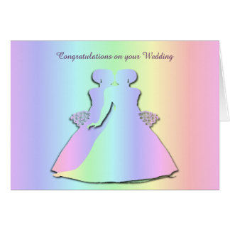 Pastel Pride Lesbian Wedding Card for Gay Brides