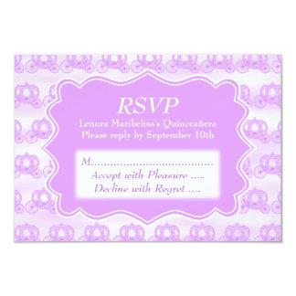 Pastel Purple Carriages Quinceanera 9 Cm X 13 Cm Invitation Card