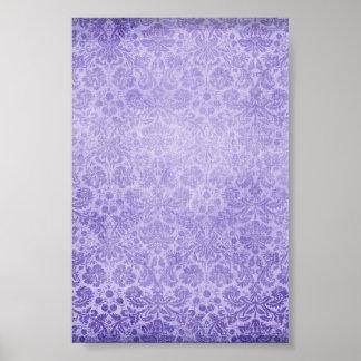 Pastel Purple Damasks Faded Pattern Posters