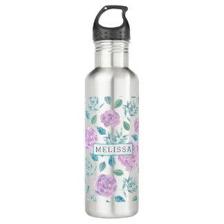 Pastel Purple Flowers Pattern Monogram 710 Ml Water Bottle
