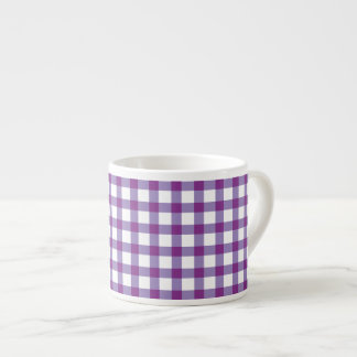 Pastel Purple Gingham Check Pattern Espresso Cup