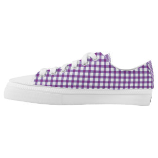 Pastel Purple Gingham Check Pattern Low Tops