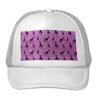 Pastel purple giraffe glitter pattern trucker hat