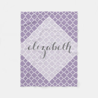 Pastel Purple Gray Quatrefoil Pattern Custom Name Fleece Blanket