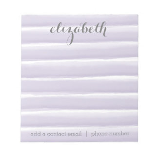 Pastel Purple & Gray Stripes Women's Office Suite Notepad