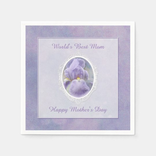 Pastel Purple Iris Mother's Day Paper Napkins