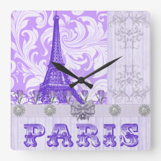 Pastel Purple Paris Square Wall Clock