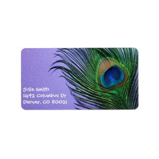 Pastel Purple Peacock Feather Still LIfe Label