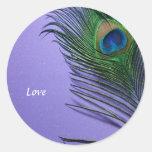 Pastel Purple Peacock Feather Still LIfe Sticker
