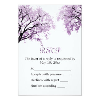 Pastel Purple Trees - RSVP Card 9 Cm X 13 Cm Invitation Card