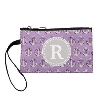 Pastel Purple Trendy Cute Nautical Anchor Monogram Coin Purse