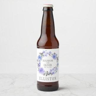 Pastel Purple Watercolor Floral | Wedding Beer Bottle Label
