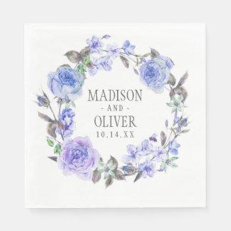 Pastel Purple Watercolor Floral   Wedding Paper Napkin