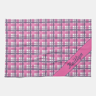 Pastel purple with sweet pink tartan pattern tea towel