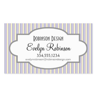 Pastel Purple Yellow White Vertical Stripes Business Cards