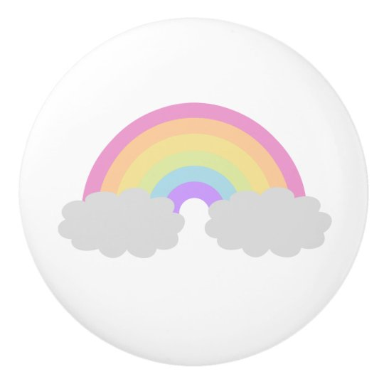 Pastel Rainbow and Clouds Ceramic Knob