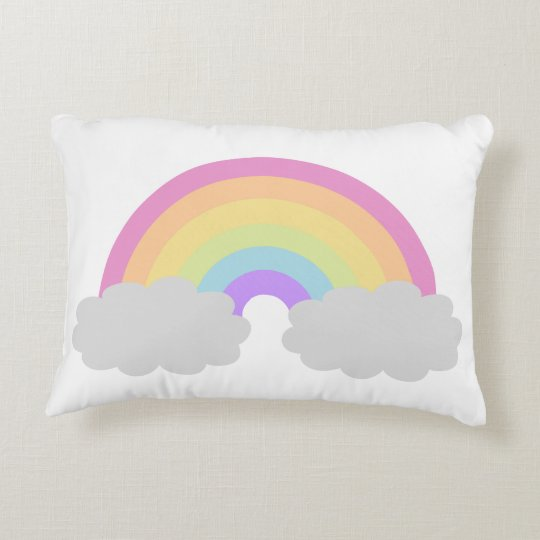 Pastel Rainbow and Clouds Throw Pillow