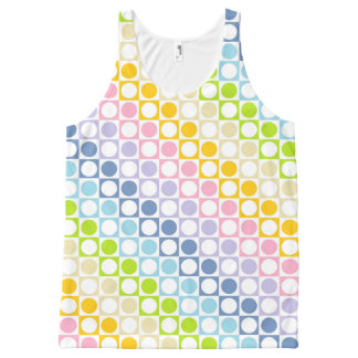 Pastel Rainbow and White Squares and Polka Dots All-Over Print Singlet