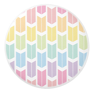Pastel Rainbow Arrow Feather Chevron Pattern Ceramic Knob